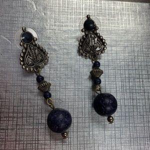 Jewelry - Antiqued dark blue earrings